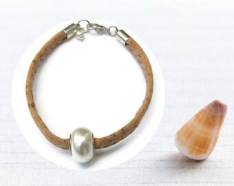 June's Birthstone, gift idea for her, Cork jewelry, natural Bracelet, becharmed Swarovski beads, vegan leather, hypoallergenic jewel