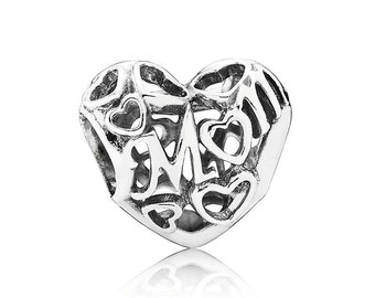 Sterling Silver S925 Openwork Mom Charm Bead for all European Pandora Bracelet