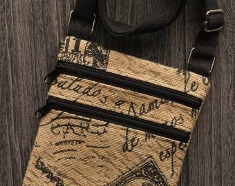 Post Mark Script Burlap Cross Body Bags