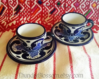 Vintage Hand painted Espresso Cups & Saucers Mexican Southwest