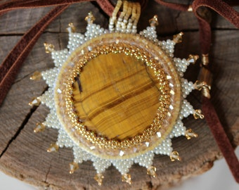 Shining sun embroidery necklace