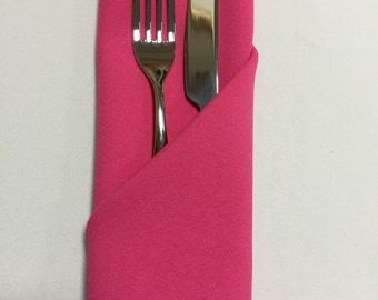 Hot Pink (Cerise) Napkins (Sold Individually) - Made from polyester fabric not cotton.