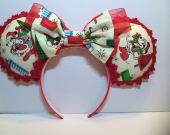 Disney Mickey Ears Christmas Vintage Mickey & Minnie Mouse