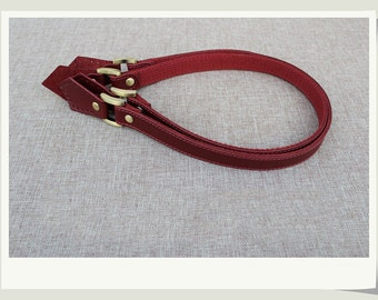 A Pair Dark Red Genuine Leahter Purse Straps Handles, Square Ear Shaped Leather Tote Straps Handles