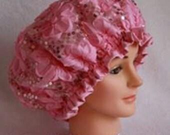 Pink Sequin Shower Cap
