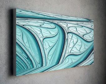 Modern wall canvas / Calm blue modern art canvas print with distinct shape - abstract art print