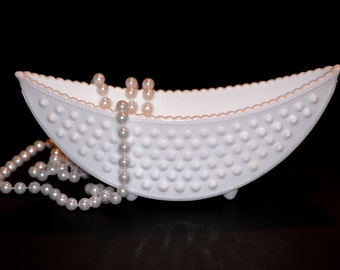 Milk Glass Canoe...Fenton Boat...Crescent Planter