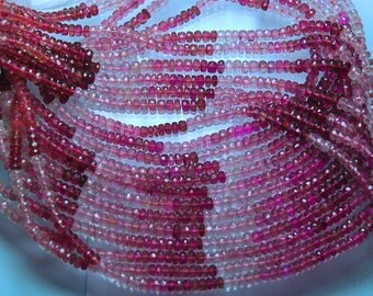 2 X 14.5'' Strand, AAA Pink Tourmaline Faceted Shaded Rondelles 4mm