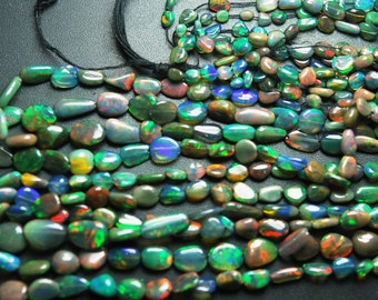 16 Inches, Full Strand, Super Fully Flash Black Opal Smooth Polished Nuggets, Size 7-6mm