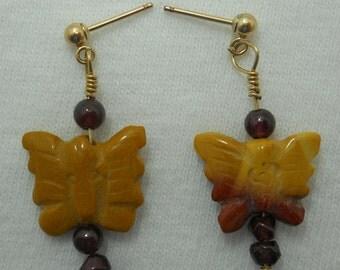 Mookaite Jasper Butterfly Earrings # 244