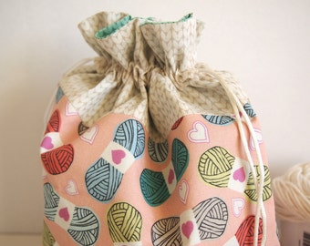 "Medium Knitting Project Bag, handmade, original yarn fabric designs, drawstring, 10"", 6"" x 3.5"", perfect for knitting and crochet projects."