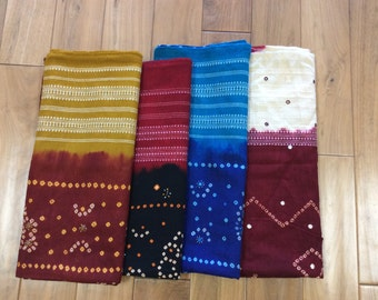 Beautiful Woolen Tie Dye Shawl with Mirror work