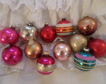 Vintage Set Of 12 Antique Mercury Glass Christmas Ornaments Shabby Chic Holiday Decor
