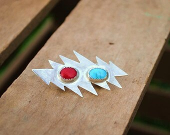 Sterling Silver Grateful Dead Lightning Bolt Pin; Sterling Silver, Red Coral, & Sleeping Beauty Turquoise 13 Point Bolt Pin, Hatpin