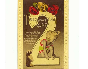 Vintage Birthday Card for a Two Year Old... with puppy