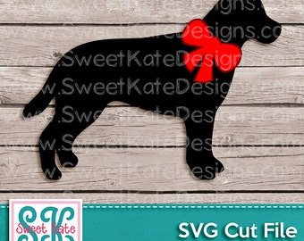 Labrador with Bow SVG JPG PNG {Can be a Scrapbook Die Cut or Heat Transfer Vinyl Cut} Cricut Silhouette Instant Download Sweet Kate Designs