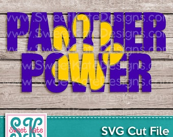 Panther Power with Knockout Paw Print SVG JPG PNG {Scrapbook Die Cut Heat Transfer Vinyl Cut} Cricut svg Silhouette svg Instant Download