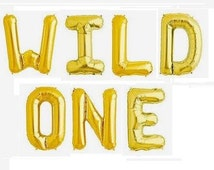 "16"" Gold, Blue, Magenta Pink, Foil Balloon ""WILD ONE"" Foil Balloon"