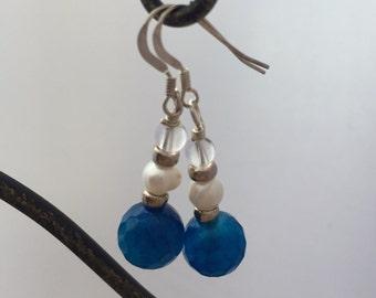 Blue agate and pearl earrings