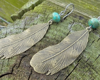 Long Brass Feather Earrings With Turquoise Picasso Finish Czech Glass Beads - Hypoallergenic Titanium Ear Wires - Boho - Gypsy - Southwest
