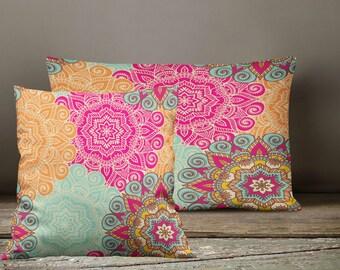 Boho Chic Mandala Floral  Throw Pillows , Square , Rectangle , Many sizes
