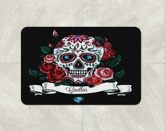 Bath Mat Sugar Skull  -Custom Personalized