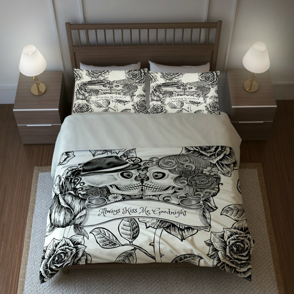 Skull Bedding, Sugar Skulls Duvet Cover Comforter Set - My ...