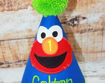 Elmo Birthday Hat,Boys Birthday Hat,Applique Embroidered Birthday Hat