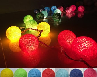 20 light mix  7 tones cotton ball Bali string light wedding party display light decor room indoor outdoor