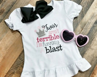 Terrible Twos Shirt - Second Birthday Shirt - Girls Birthday Shirt - Custom Girls Shirt - Girls Terrible Twos - Girl Second Birthday
