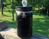 Black Wide Mouth Quart 32oz Mason Jar with Skull Knob and Skull Decorations, Office Container, Organizer, Goth Decor, Halloween Decor