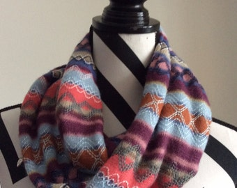 Multicolored infinity scarf, loop scarf, circle scarf