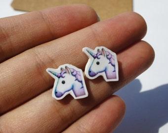 Unicorn emoji stud earrings