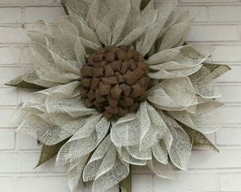 Antique White and Olive Green Poly Burlap Sunflower Wreath
