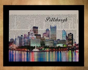 Pittsburgh Skyline Dictionary Art Print, Pittsburgh Decor Wall Art Home Decor Travel Poster Cityscape da1064