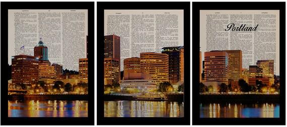 Portland Oregon Dictionary Art Print Set Of Three 3 Pdx