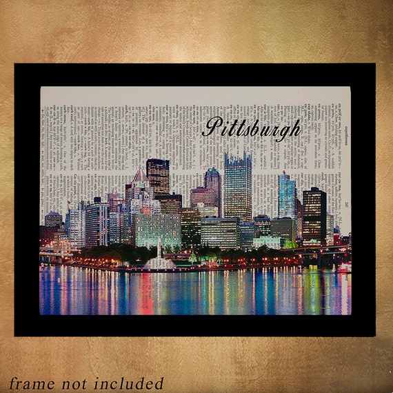 Pittsburgh Skyline Dictionary Art Print Pittsburgh Decor Wall