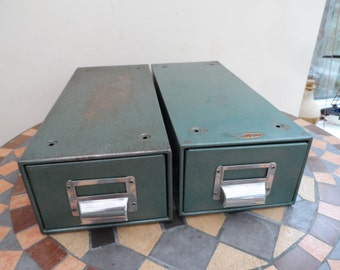 Retro & Vintage Metal desk top Index card or filing cabinet Hammered green paint finish contemporary Industrial storage Home or Office