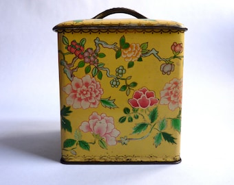 vintage french biscuit tin, yellow