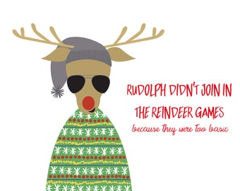 Hipster Rudolph Christmas Card