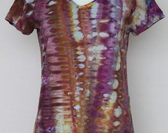 Tie Dye T-shirt Ice Dyed V neck - size Large - Na's Favorite snakeskin
