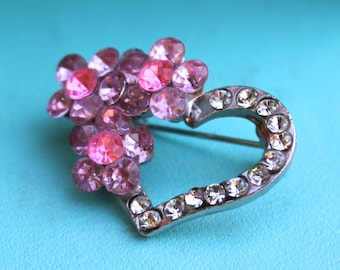 Tiny Sparkly Heart Brooch Lapel Pin Pink Flowers Sparkly Rhinestones Vintage Jewelry Sweet Lolita Pink Love Gift For Her turquoise ink white