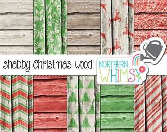 Rustic Wood Christmas Digital Paper Pack – barn board papers with red and green Christmas patterns – scrapbook paper - commercial use