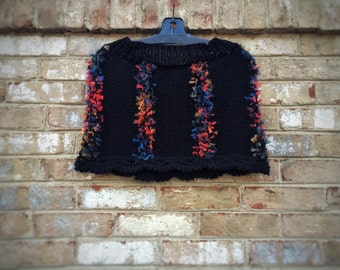 Hand knit cape Crochet black poncho Unique Handmade shawl capelet French novelty