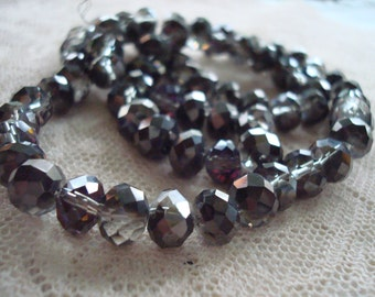 Half Black Rondelles. 3 SIZES! 6x8, 4x6 & 7x10mm Half Black Electroplated and Clear Glass. 17 Inch Strand. Midnight Black and Crystal Clear