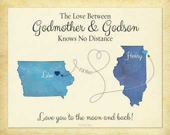 Godmother Gift, Godson Gift, Long Distance Gift, Personalized Gift, Birthday Gift Idea, Long Distance Quote Print,  Moving Away Gift
