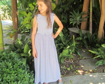 Girls Summer Maxi Dress with Black Stripes, Girls Striped Maxi Dress, Girls Long Dress - Sizes 4/5, 6/6x, 7/8, 10/12 Ready to Ship