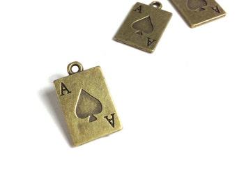 3D Ace of Spades Antique Bronze Charms Pendant