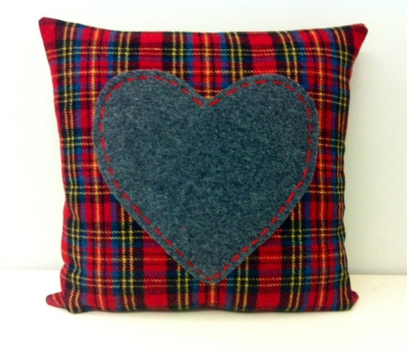 Red Plaid Throw Pillow Cover : Boho Wool Pillow Cover Hand Made Pillow Red Plaid by 16October