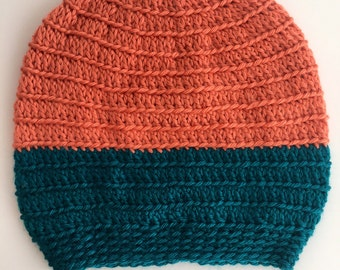 Bi-Color Peach and Teal Slouch Hat